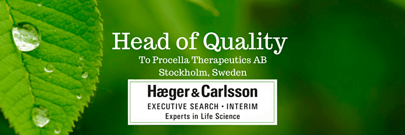 Head of Quality, Procella Therapeutics AB, Stockholm, Sweden image